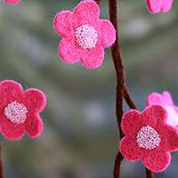 Wool Christmas tree garland, 'Hot Pink Blossoms' - Hot Pink Handmade Felt Holiday Garland