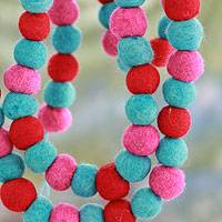 Wool Christmas tree garland, 'Jelly Bean Pompoms' - Multicolor Handmade Felt Holiday Garland