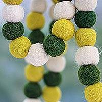 Wool Christmas tree garland, 'Lemon Lime Pompoms' - Green and Yellow Handmade Felt Holiday Garland