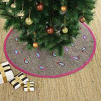 Wool Christmas tree skirt, 'Festivity' - Modern Wool Applique Christmas Tree Skirt