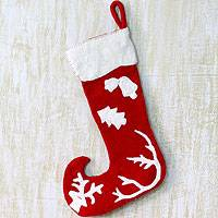 Wool Christmas stocking, 'Holiday Spirit'
