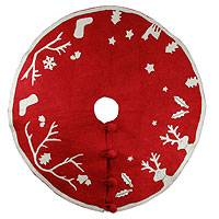 Wool Christmas tree skirt, 'Holiday Spirit' - Red and White Wool Applique Christmas Tree Skirt