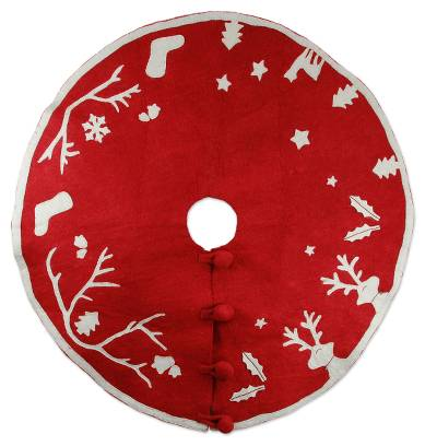 Wool Christmas tree skirt, 'Holiday Spirit' - Red and White Wool Applique Christmas Tree Skirt