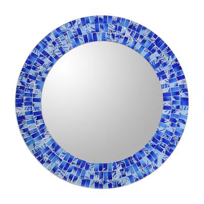 Glass mosaic mirror, 'Tropical Fusion' - Handcrafted Glass Tile Round Wall Mirror