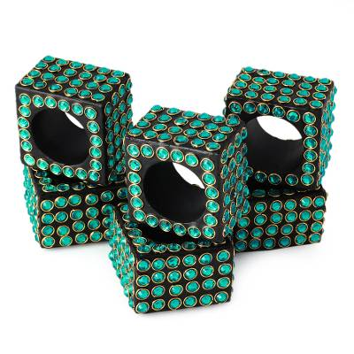 Bejeweled napkin rings, 'Green Droplets' (set of 4) - Handcrafted Bejeweled Napkin Rings (set of 4)