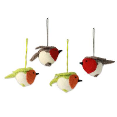 Wool ornaments, 'Robin's Delight' (set of 4) - Christmas Bird Ornaments (Set of 4)