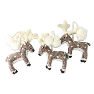 Wool ornaments, 'Reindeer' (set of 3) - Handcrafted Reindeer Ornaments from India (Set of 3)