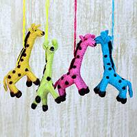 Wool ornaments, 'Happy Giraffes' (set of 4)