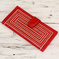 Leather wallet, 'Scintillating Red' - Metallic Weave on Leather Wallet with Multiple Pockets
