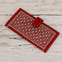 Leather wallet, 'Hypnotic Red' - Metallic Weaved Leather Wallet from India