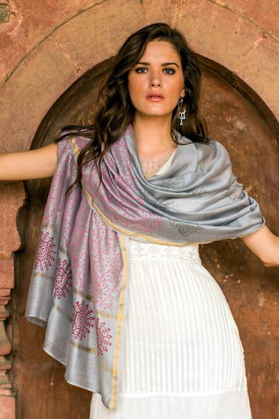 Cotton and silk shawl, 'Fortune's Elegance' - Fair Trade Block-Printed Silk Blend Shawl