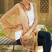 Silk shawl, 'Chennai Charm' - Multi Floral Hand Block Printed 100% Silk Shawl India