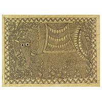 Madhubani painting, 'Royal Elephant' - Monochromatic Signed Madhubani Elephant Painting