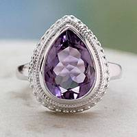 Amethyst cocktail ring, 'Princess Tear' - Amethyst Ring