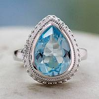 Blue topaz cocktail ring, 'Princess Tear' - Blue Topaz Ring