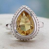 Citrine cocktail ring, 'Princess Tear' - Citrine Cocktail Ring