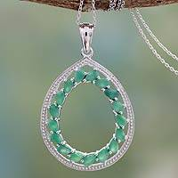 Emerald pendant necklace, 'Story of Love' - Handcrafted Silver and Emerald Necklace