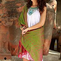Varanasi silk shawl, 'Apple Orchard' - Handwoven Red and Green Varanasi Silk Shawl