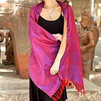 Varanasi silk shawl, 'Fiery Dawn' - Scarlet and Blue Silk Shawl from Banaras