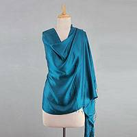 Silk shawl, 'Luxurious Teal' - Indian Silk Shawl Wrap