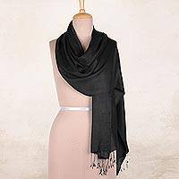 Silk shawl, 'Onyx Nights' - Indian Silk Shawl Wrap