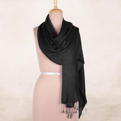 Silk shawl, 'Onyx Nights' - Indian Silk Shawl Wrap