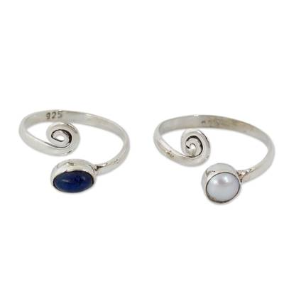 Cultured pearls and lapis lazuli toe rings, 'Perfection' (pair) - Pearl and Lapis Lazuli Sterling Silver Toe Rings (Pair)