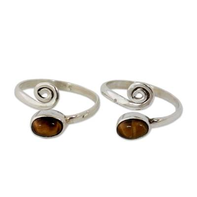 Tiger's eye toe rings, 'Insight' (pair) - Tiger's Eye Sterling Silver Toe Rings from India (Pair)