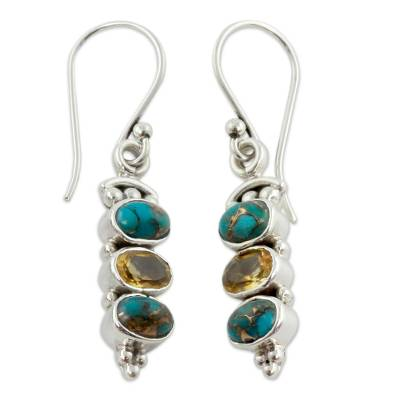 Artisan Crafted Citrine and Turquoise Jewelry Earring