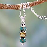 Citrine pendant necklace, 'Golden Mystique' - Citrine and Turquoise Necklace