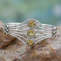 Citrine cuff bracelet, 'Glamour' - Modern Sterling Silver and Faceted Citrine Cuff Bracelet