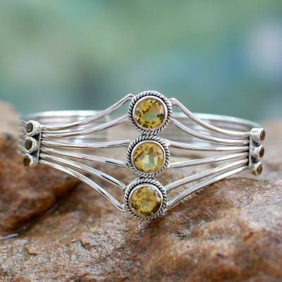 'Glamour' Modern Sterling Silver and Faceted Citrine Cuff Bracelet