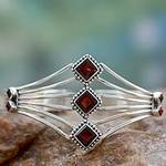 Modern Sterling Silver and Faceted Garnet Cuff Bracelet, 'Glamour'