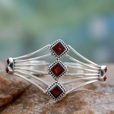 Garnet cuff bracelet, 'Glamour' - Modern Sterling Silver and Faceted Garnet Cuff Bracelet