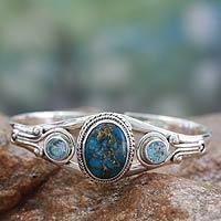 Blue topaz cuff bracelet, 'Azure Heavens'