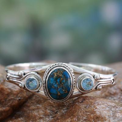 Blue topaz cuff bracelet, 'Azure Heavens' - Handmade Blue Topaz Bracelet with Composite Turquoise