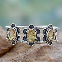Citrine cuff bracelet, 'Bright Blossoms'