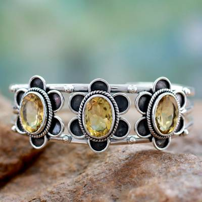 Citrine cuff bracelet, 'Bright Blossoms' - Modern Sterling Silver and Faceted Citrine Floral Bracelet