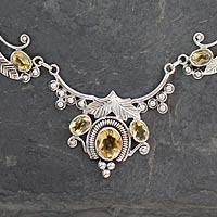 Citrine flower necklace, 'Queen of Nature' - Indian jewellery Sterling Silver and Citrine Necklace