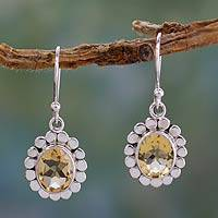 Citrine dangle earrings, 'Radiant Petals' - Citrine Dangle Earrings