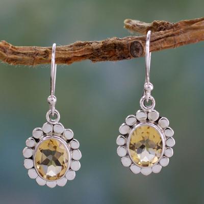 Citrine dangle earrings, 'Radiant Petals' - Citrine Dangle Earrings