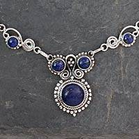 Lapis lazuli pendant necklace, 'Meerut Magic' - Sterling Silver and Lapis Lazuli Necklace