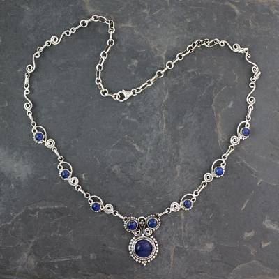 Lapis lazuli pendant necklace, 'Meerut Magic' - Indian Sterling Silver and Lapis Lazuli Necklace