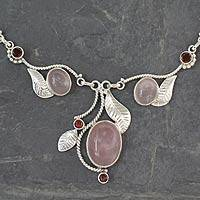 Rose quartz and garnet Y-necklace, 'Dew Blossom' - Handmade Necklace Rose Quartz and Garnet from India
