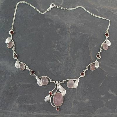 Rose quartz and garnet Y-necklace, 'Dew Blossom' - Handmade Necklace Rose Quartz and Garnet from India