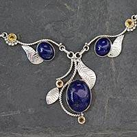 Lapis lazuli and citrine Y-necklace, 'Dew Blossom' - India jewellery Lapis Lazuli and Citrine Y Necklace