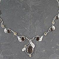 Smoky quartz and citrine Y-necklace, 'Dew Blossom' - India Jewelry Smoky Quartz and Citrine Y-necklace
