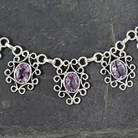 Amethyst pendant necklace, 'Regal Halo' - Hand Crafted Amethyst Pendant Necklace