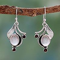 Rose quartz and garnet dangle earrings, 'Dew Blossom'