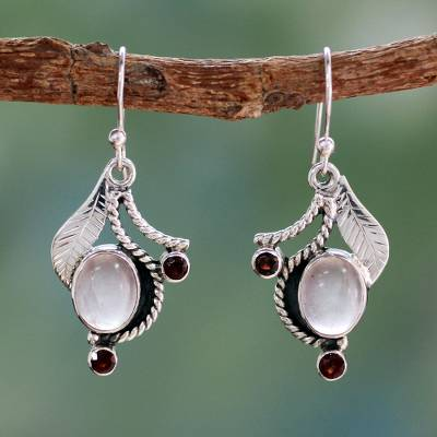 Rose quartz and garnet dangle earrings, 'Dew Blossom' - Handmade Earrings Rose Quartz and Garnet from India